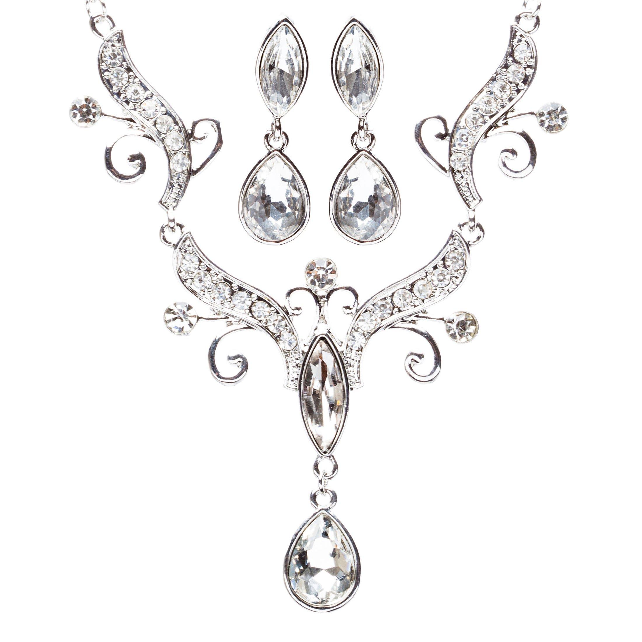 ACCESSORIESFOREVER Women Bridal Wedding Jewelry Crystal Rhinestone Dazzling Tear Drop Necklace J570Silver