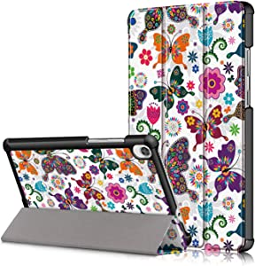 KuRoKo Lenovo Tab M8 Case 2019 TB-8505F TB-8505X Case, Slim Light Cover Trifold Stand Hard Shell Case Compatible with Lenovo Tab M8 HD (2nd Gen) TB-8505F / TB-8505X 2019 8.0 Inch Tablet (Butterfly)