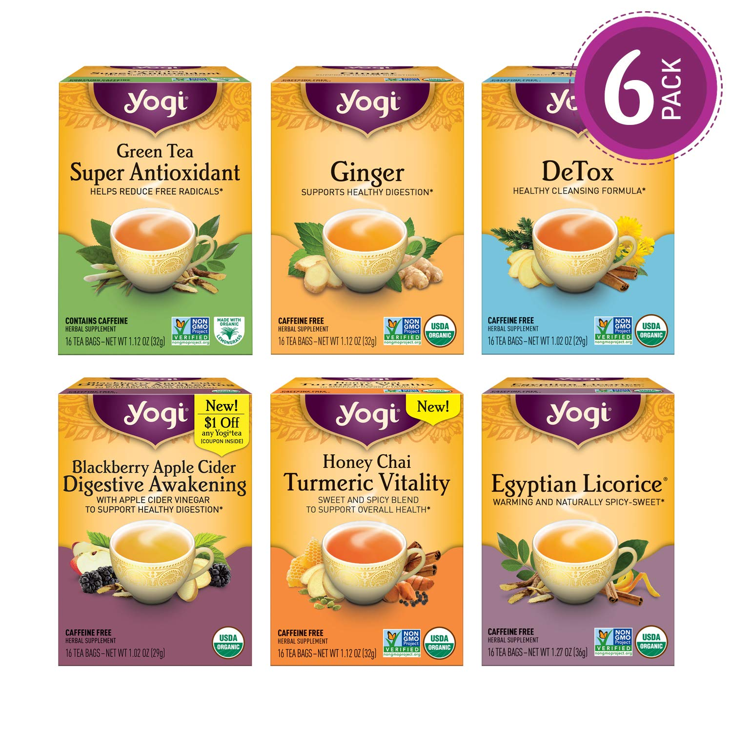 Yogi Tea - Digestion and Detox Tea Variety Pack Sampler - 6 Pack, 96 Tea Bags Total