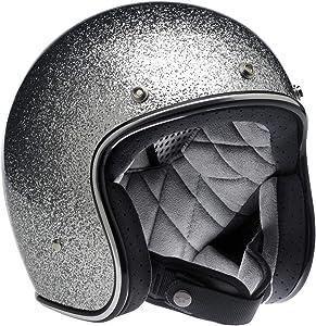 Biltwell Unisex-Adult Open face Bonanza 3/4 Helmet (Brite Silver Metal Flake, Medium) - BH-SIL-MF-DOT-MED