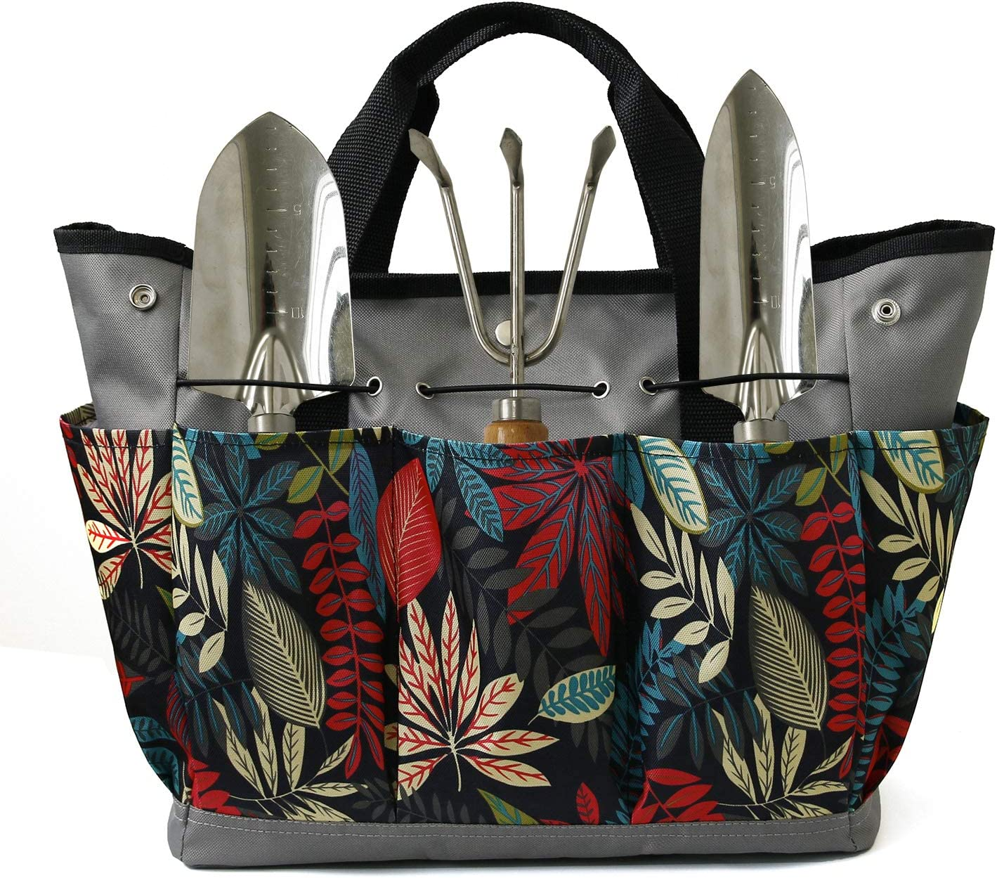 Mydays Canvas Garden Tool Tote Bag, Heavy-Duty Gardening Pouch, Vegetable Herb Garden Hand Tool Storage Tote, with 8 Pockets and Leather Handle, Floral Gardening Gift, Tools Not Included (Grey)