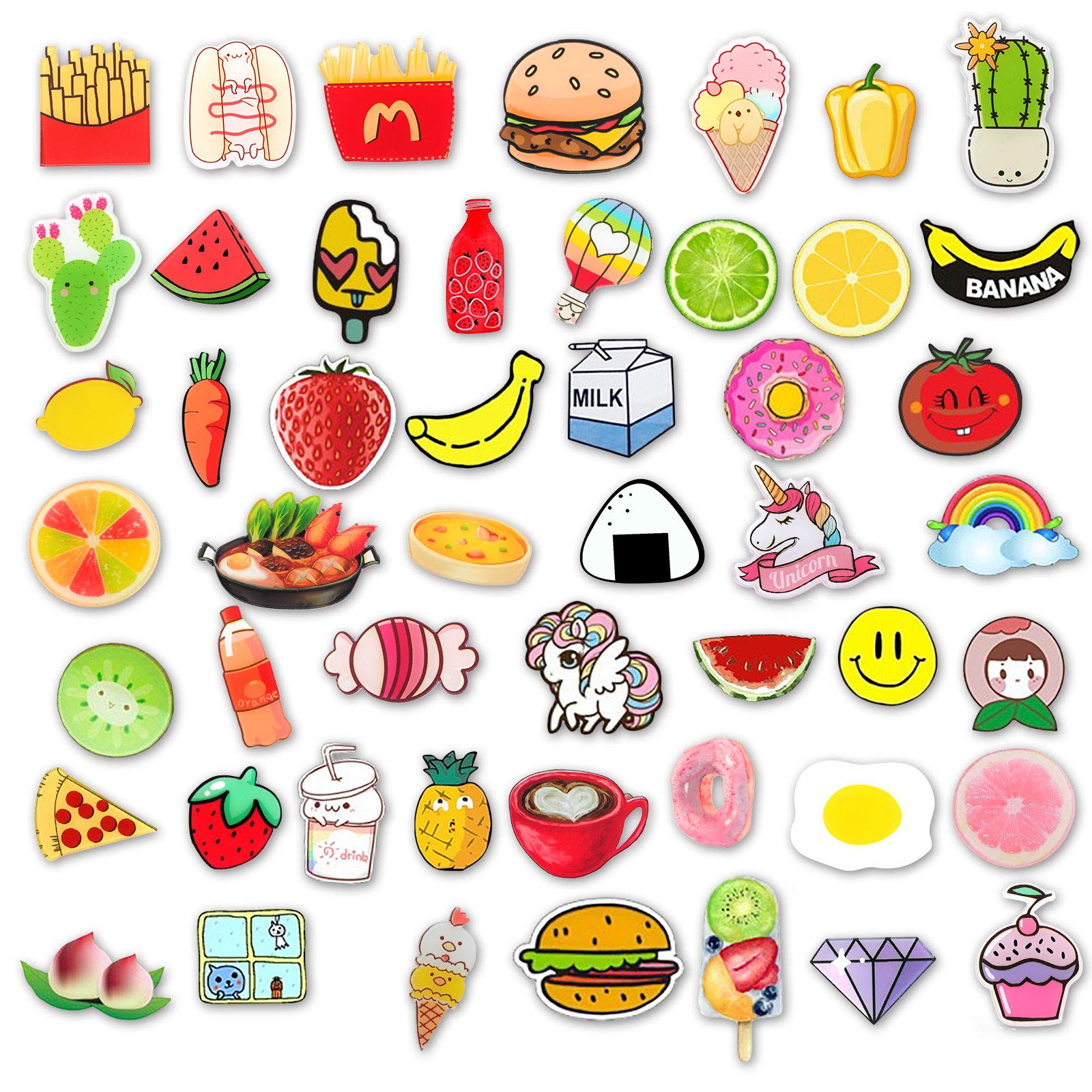 MJartoria 50 PCS Cute Cartoon Acrylic Lapel Pins for Backpack Aesthetic Fruit Brooch Badge Pin Set for Clothing Bags Clothing Bags Jackets