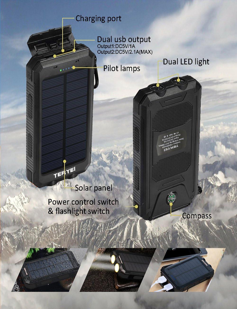 Portable Solar Phone Charger Teryei 15000 Mah Solar Power Bank Copia De Seguridad Exterior Cell Telefono Celular Cargador De Bateria Externa Con Doble Puerto Usb Dual Led Linternas Solar Cargador De Bateria