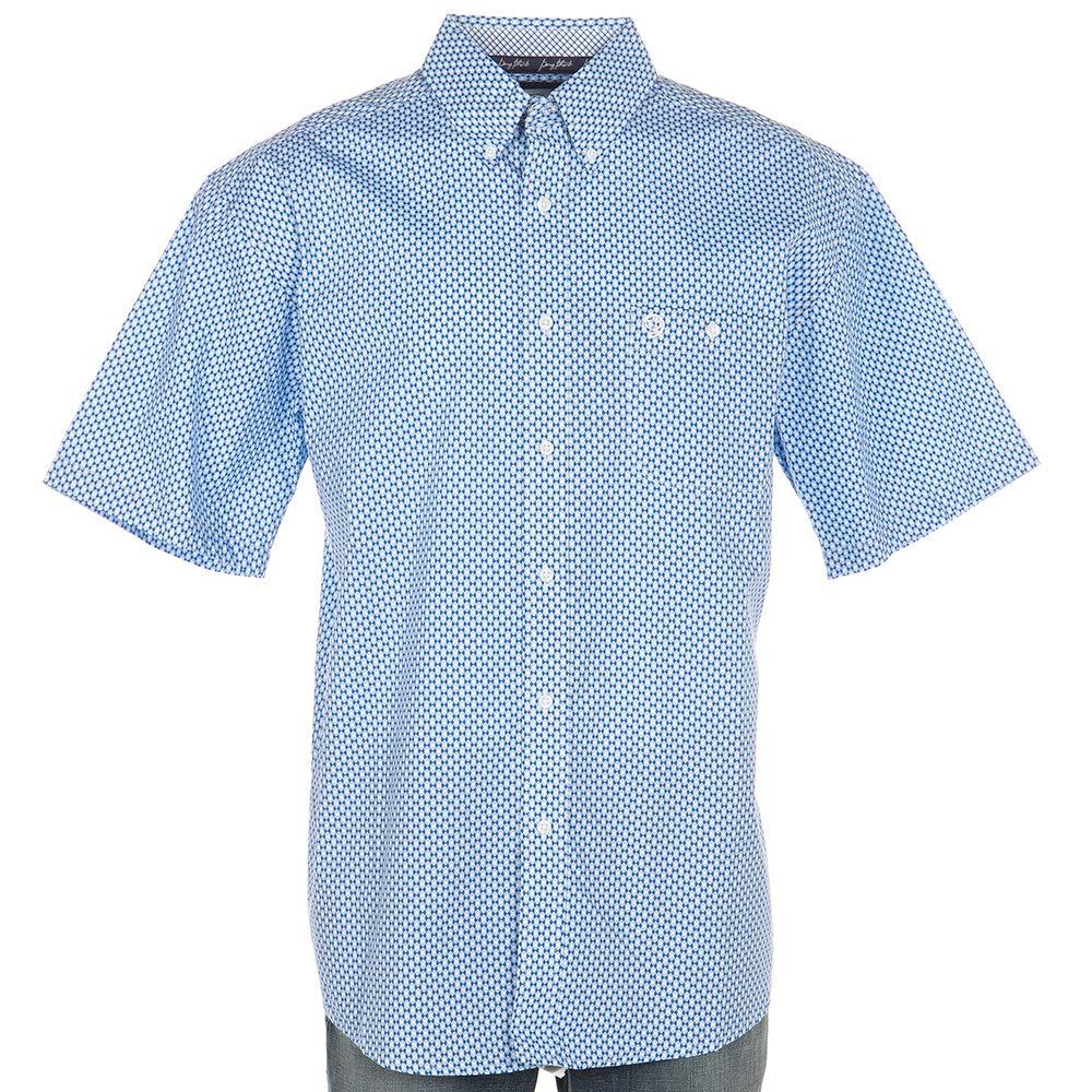 Wrangler Apparel Mens George Strait Holo Print Button Down XXL Blue