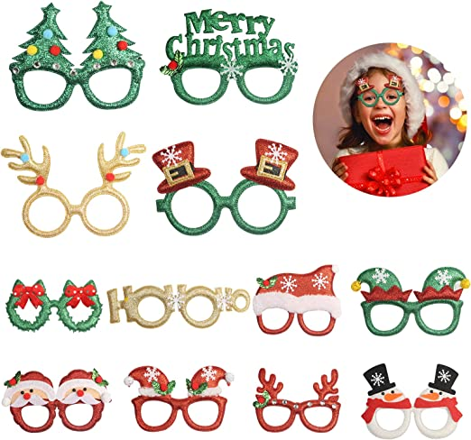 2 Peices Novelty Glitter Christmas Sunglasses Party Favors Gifts Eye Glasses