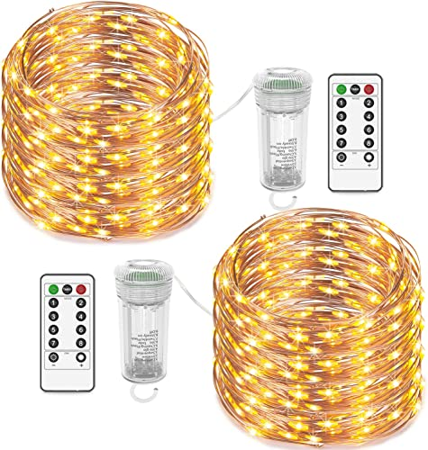 Asmader 2 Sets LED Fairy Lights,Battery Operated String Lights Waterproof Outdoor Indoor Copper Wire Lights 8 Modes Remote for Bedroom, Holiday, Party, Wedding, Christmas Decor Lights, Warm White