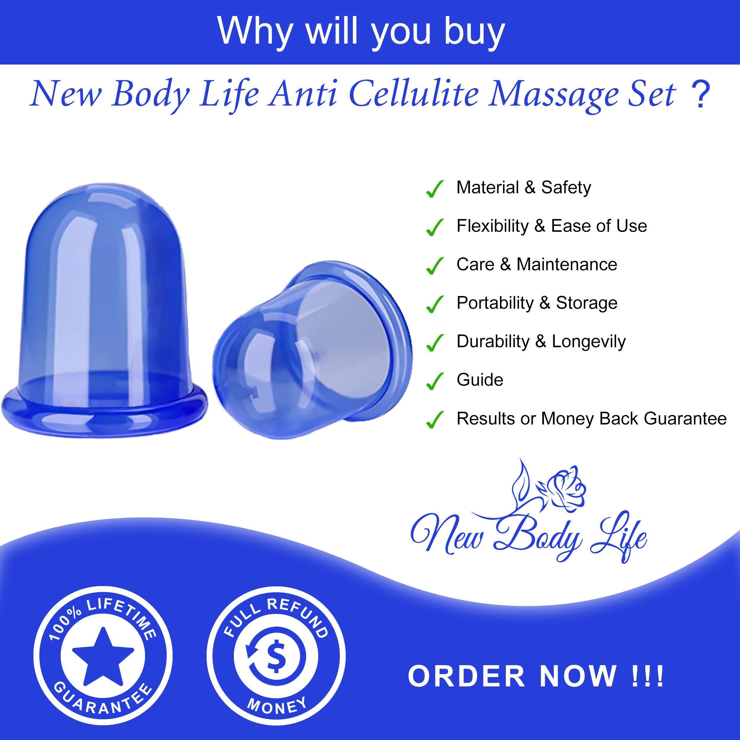 Cupping Therapy Set for Cellulite Massage - Silicone Suction Cup - Cellulite Remover for Body Vacuum Massage - Chinese Acupuncture Anti-Aging Wrinkle Reducer - 2pcs cups (Blue)