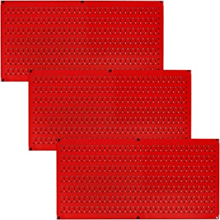 product image for Wall Control Pegboard Value Pack - (3) Pack of Wall Control 16-Inch Tall x 32-Inch Wide Horizontal Red Metal Pegboards for Wall Home & Garage Tool Storage Organization (Red Pegboard)