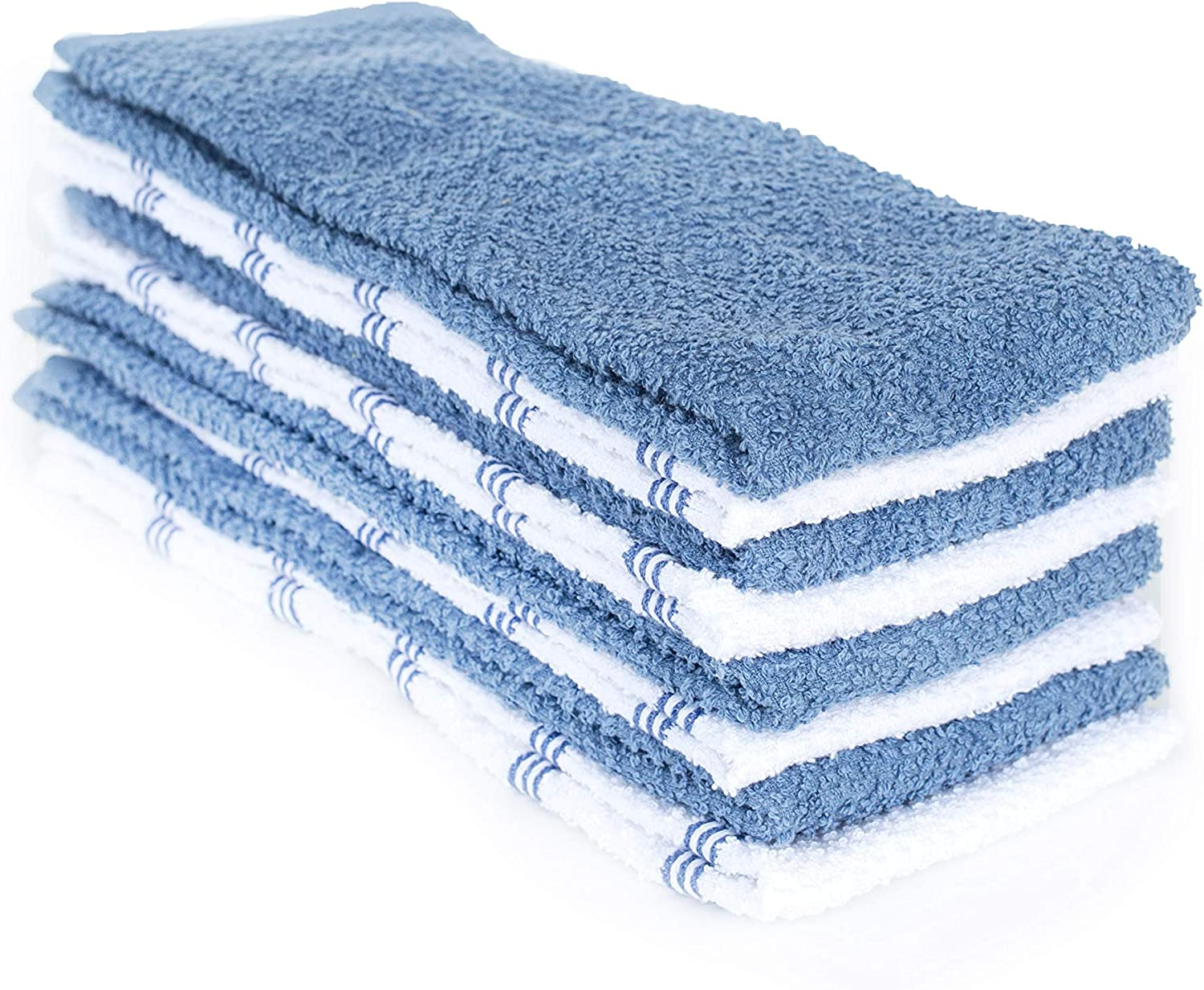 Kaf Home Pantry Set Of 8 Piedmont Kitchen Towels Set Of 8 16x26 Inches Ultra Absorbent Terry Cloth Dish Towels Dark Gray Dutch Blue Kitchen Towel 16x26 Amazon Sg Home