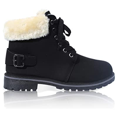 WOMENS LACE UP COLLAR FUR LINED WINTER WARM LADIES ANKLE BOOT SIZE ...