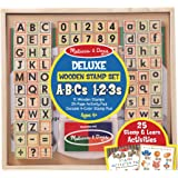 Melissa & Doug Deluxe Wooden Stamp Set - ABCs 123s (Arts & Crafts, 4-Color Inkpad, 70+ Pieces)