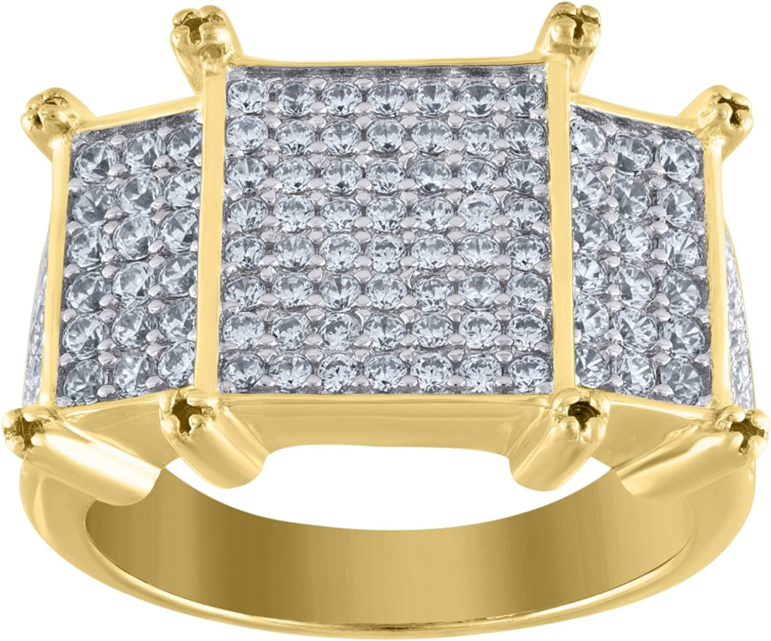 Jawa Jewelers Sterling Silver Mens Two-tone CZ Rectangle Head SZ8 Cluster Band Ring-SLV-90278