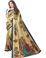 Devani Brothers Women's Crepe Silk Saree ( MORLO SAREE CHIKU-COLOURED)
