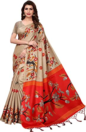 CRAFTSTRIBE Traditional Bollywood Printed Khadi Silk Dress Party Wear Indian Ethnic Wedding Sari for Women's