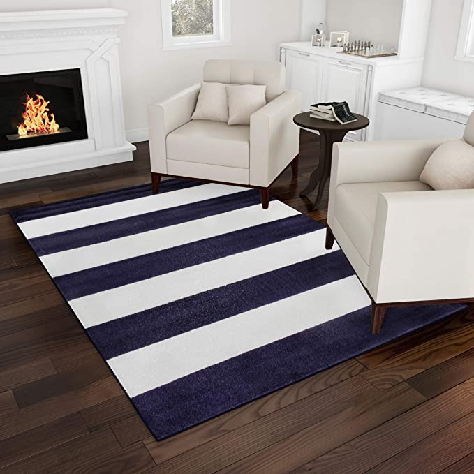 Bedford Home Breton Stripe Area Rug 5x7 Blue Ivory Plush Carpet Navy Blue And Ivory Furniture Decor Amazon Com