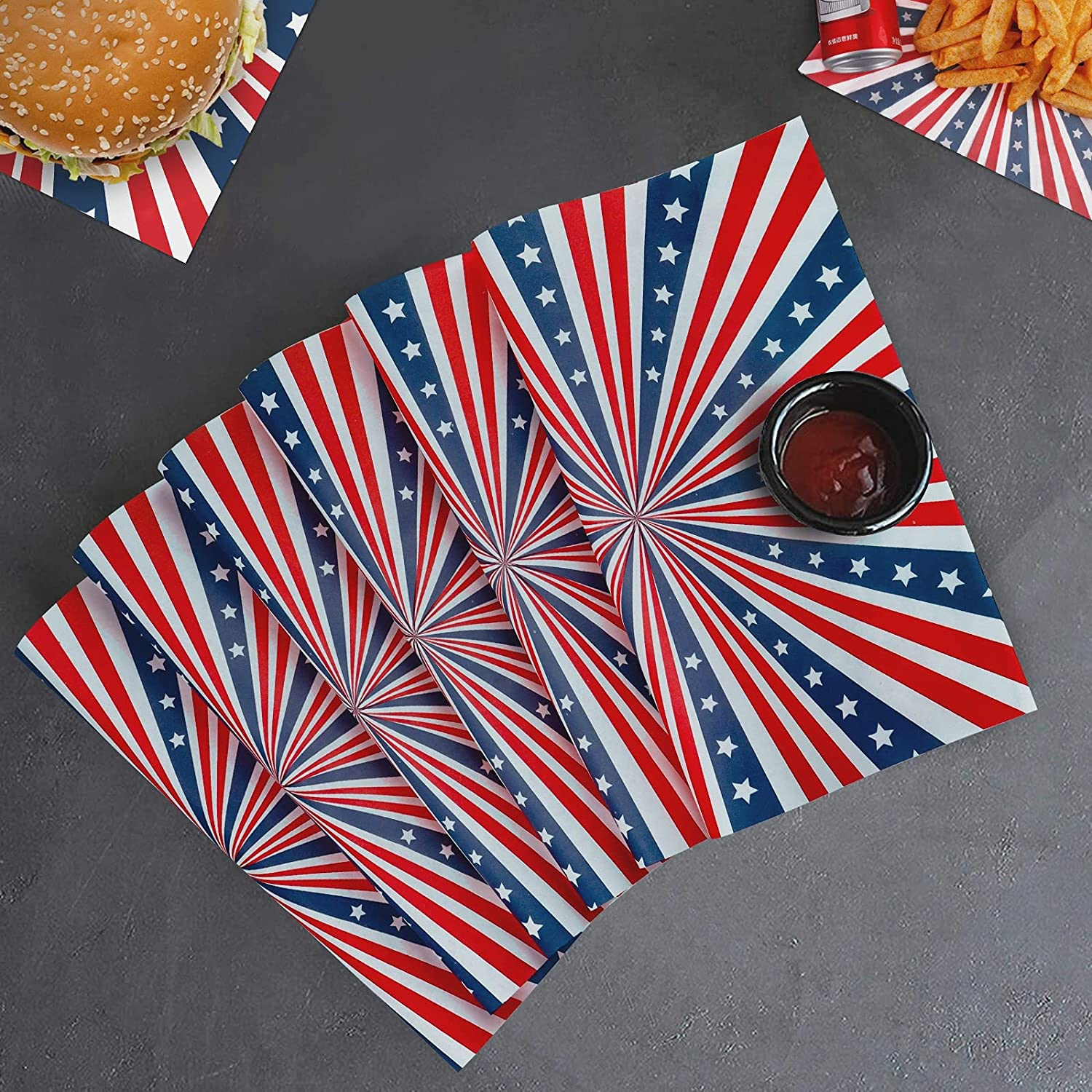 YBB 100Pcs Deli Wax Paper Sheets for Food, Patriotic American Flag Star&Stripe Patterns Basket Liners Food Picnic Paper Sheets Greaseproof Deli Wrapping Sheets, 10 x 10 Inch