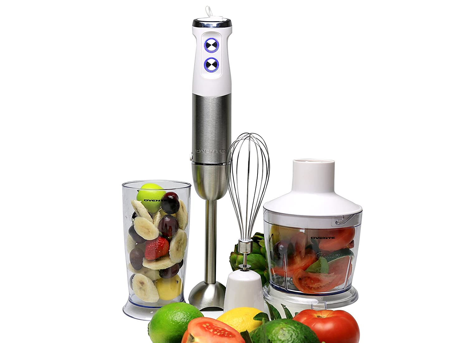 Ovente Multi-Purpose Immersion Hand Blender Set – 500-Watts, Variable 6-Speed Control – Stainless Steel – Includes Food Chopper, Egg Whisk, and BPA-Free Beaker (600ml) – White (HS685W)