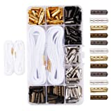 Metal Shoelaces Tips Head,DianMan 200 pcs DIY Metal Aglets Shoelace Tip Ends Bullet Shaped Aglet Tips For Shoelace Hoodies Beach Pants Cylinder Tips Hoodies Aglets String Metal Tips (Color: Golden, Silver, Bronze and Ebony, Tamaño: 4mm*20 mm)