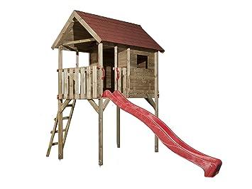 Tabaluga Kinderstelzenhaus 815 Mit Wellenwasserrutsche Rot 300 Cm