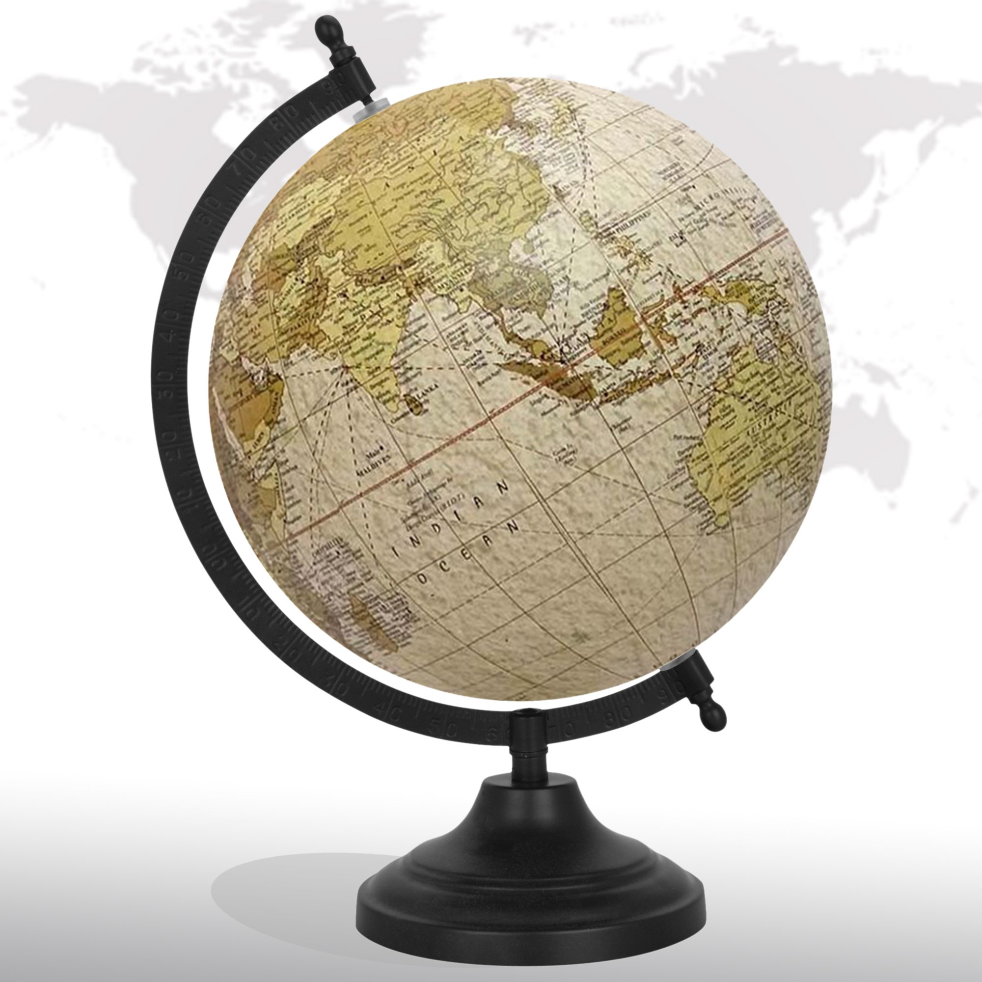 Decorative Rotating World Map Globe Off-White 8'' Inches Metal Base Educational Globe Office Table Décor