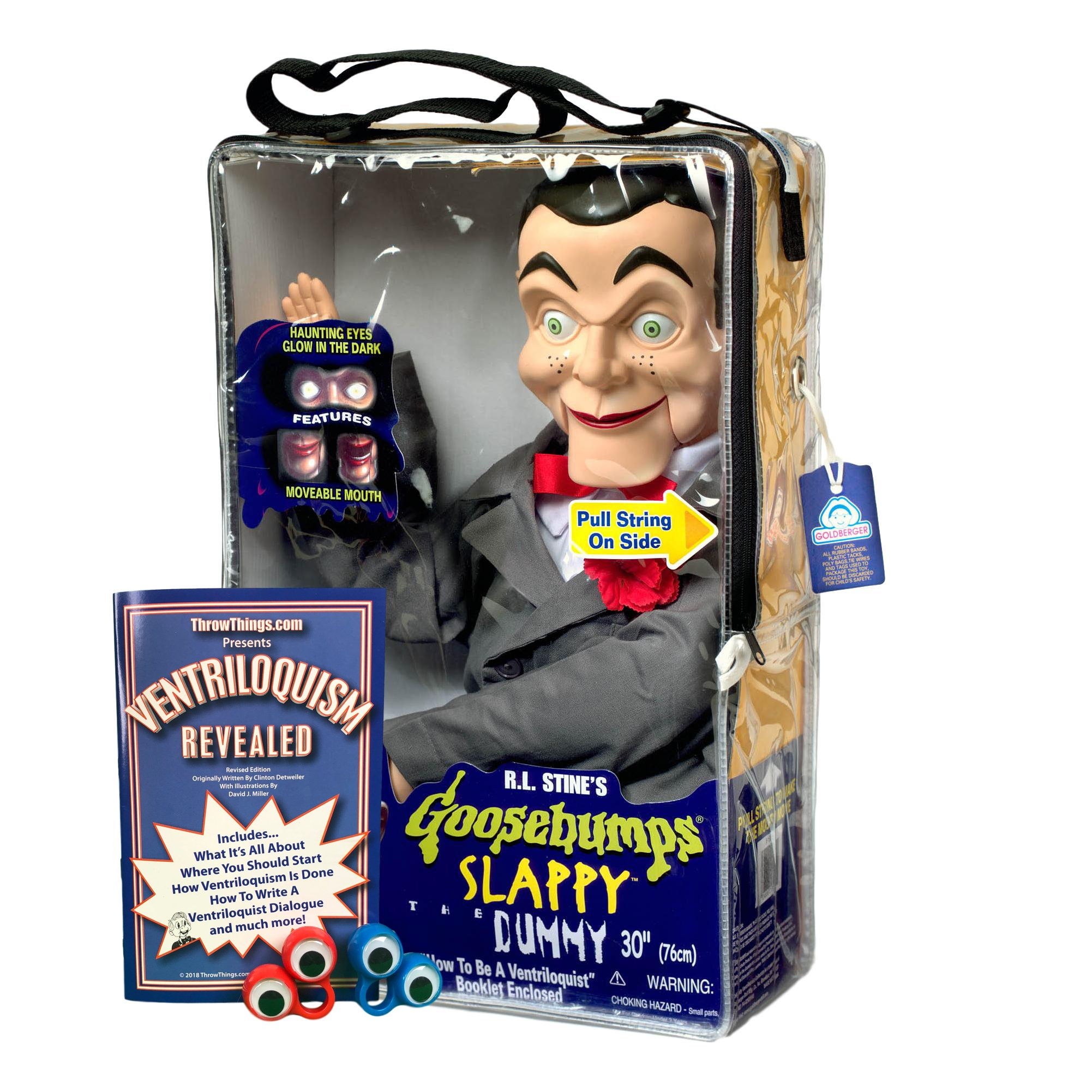 Bonus Bundle! Slappy from Goosebumps Ventriloquist Dummy Doll PLUS Ventriloquism Revealed Booklet PLUS Two Finger gEyes