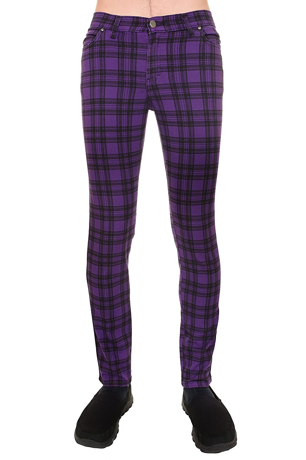 60s – 70s Mens Bell Bottom Jeans, Flares, Disco Pants  60s Mod Purple & Black Tartan Stretch Skinny Jeans $51.95 AT vintagedancer.com