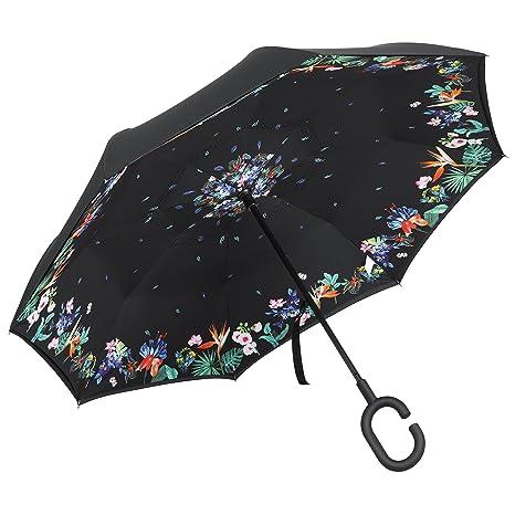 Plemo Paraguas Flores con Apertura Invertida, Paraguas de Doble Capa con Autonomía y Mango en