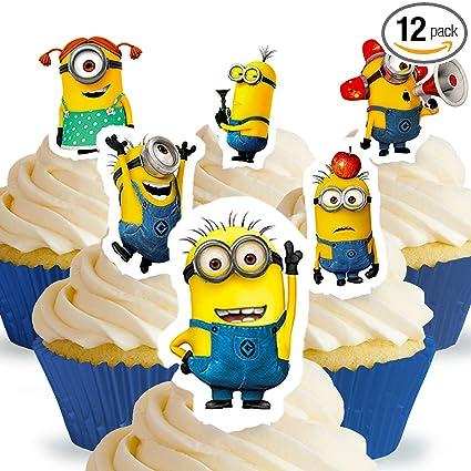 Cakeshop 12 x PRE-CUT Despicable Me Minions soporte ...