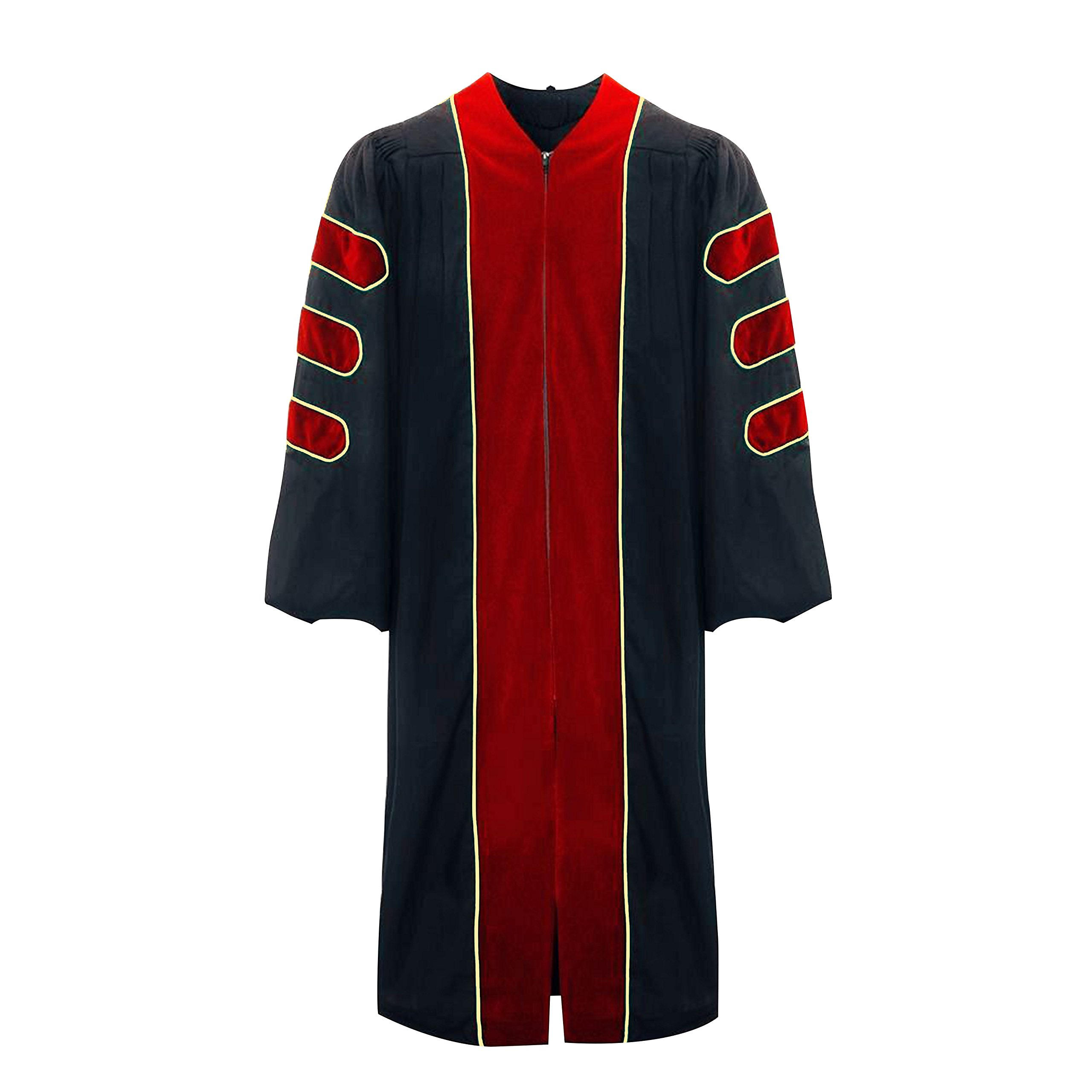 lescapsgown Deluxe Doctoral Graduation Gown-Red Trim Gold Piping(Red Size 51) by lescapsgown