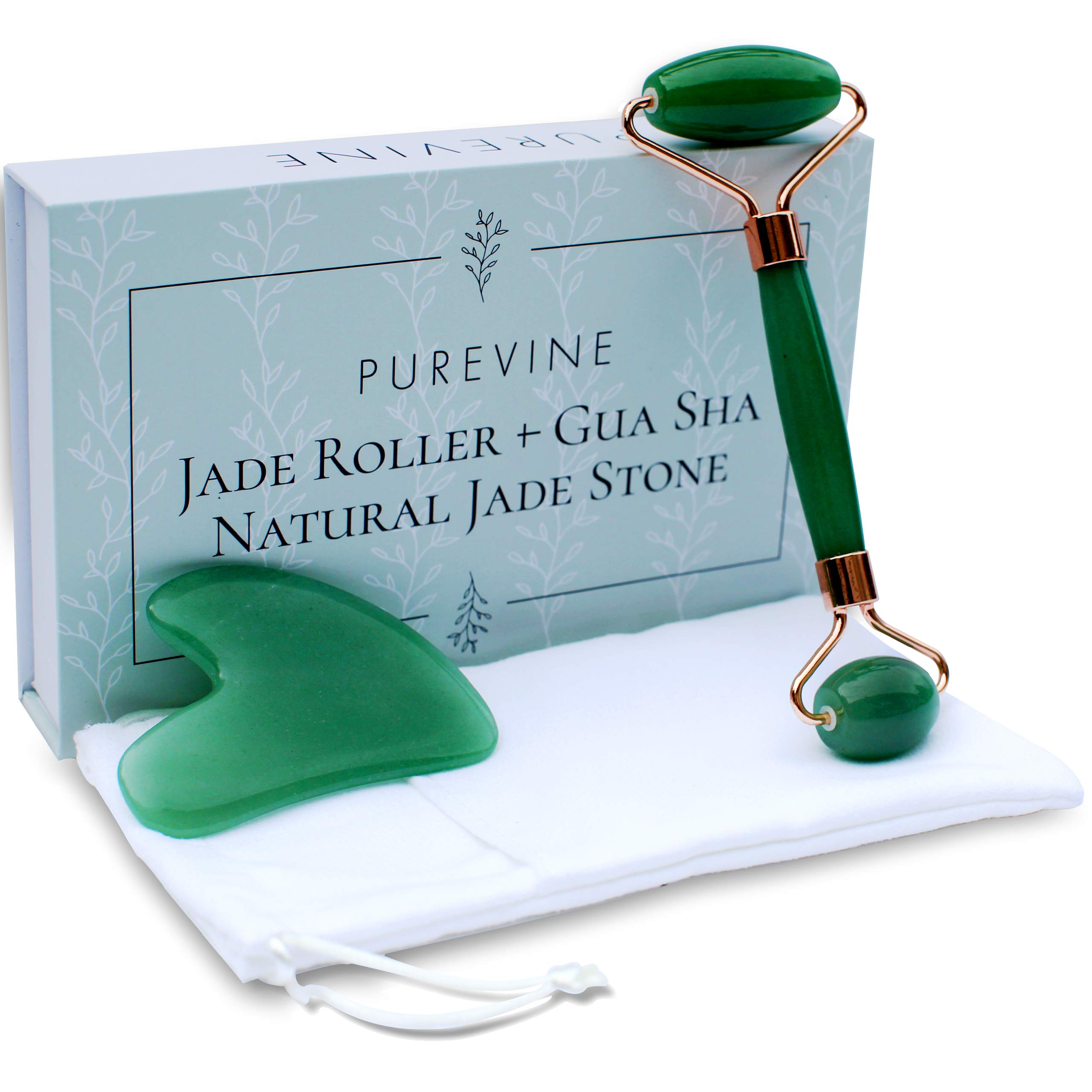 Jade Roller for Face and Gua Sha Scraping Tool Kit - Anti Aging Beauty Facial Massage Set - 100% Natural Jade Stone - Beautiful Skin Detox - Remove Dark Circles, Puffy Eyes, Fine Lines by PUREVINE