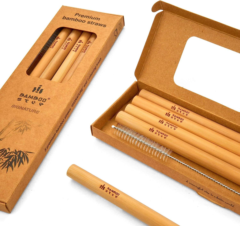 Bamboo Step – Kit de 5 pajitas de bambú de calidad y 1 escobilla en caja de papel kraft (diámetro medio): 9 mm): Amazon.es: Hogar