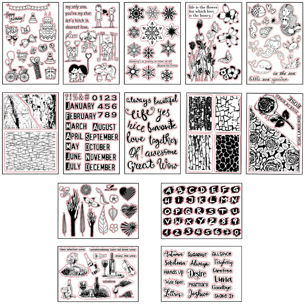 Shoresu Cake Transparent Stamps Silicone Stamps Clear Stamps for DIY Scrapbooking Card Cards Making Photo Album Decorative 11cmx16cm//4.33inx6.30in