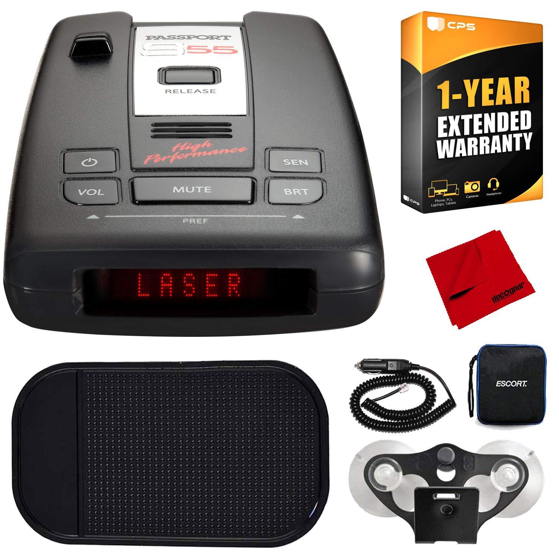 Escort Passport S55 Radar/Laser Detector w/Non-Slip Car Mat, 1-Year Warranty & Deco Gear Microfiber Cloth by Escort