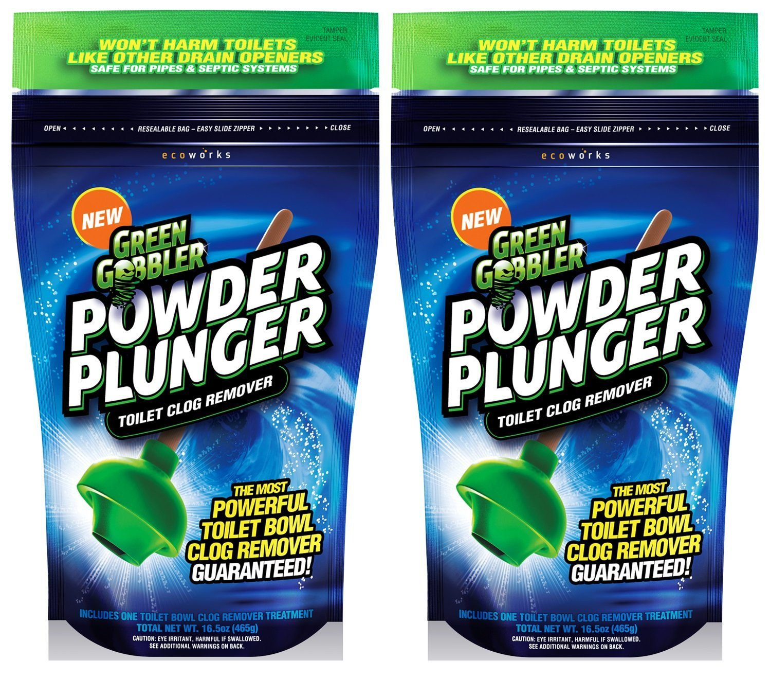 Green Gobbler GGPPTCRPOWDER PLUNGER Toilet Bowl Clog Remover - 2 Pack Net WT 16.5 oz