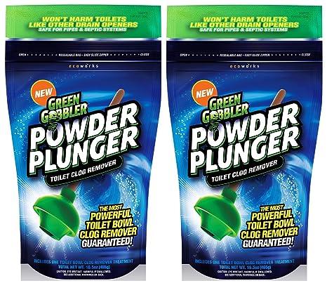 Green Gobbler GGPPTCR POWDER PLUNGER Toilet Bowl Clog Remover - 2 ...