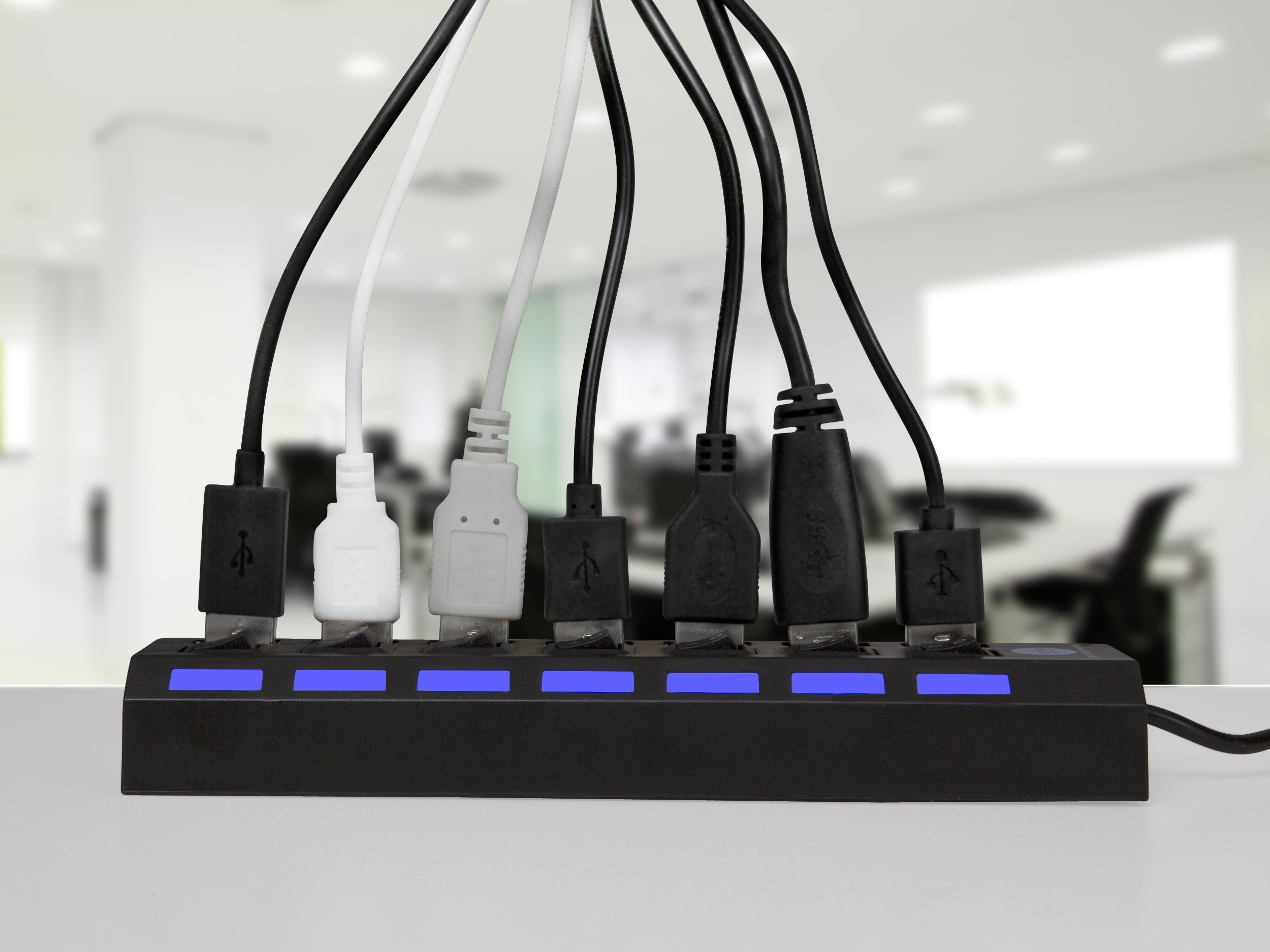7 Port USB 2.0 Hub with Individual Power Switches and LEDs On Off Switch Design Slim Compact Lightweight Fast Communication For PC Linux Mac Windows Smarts Tvs Accessory Travel Great Price OCBAN by Ocban (Image #4)