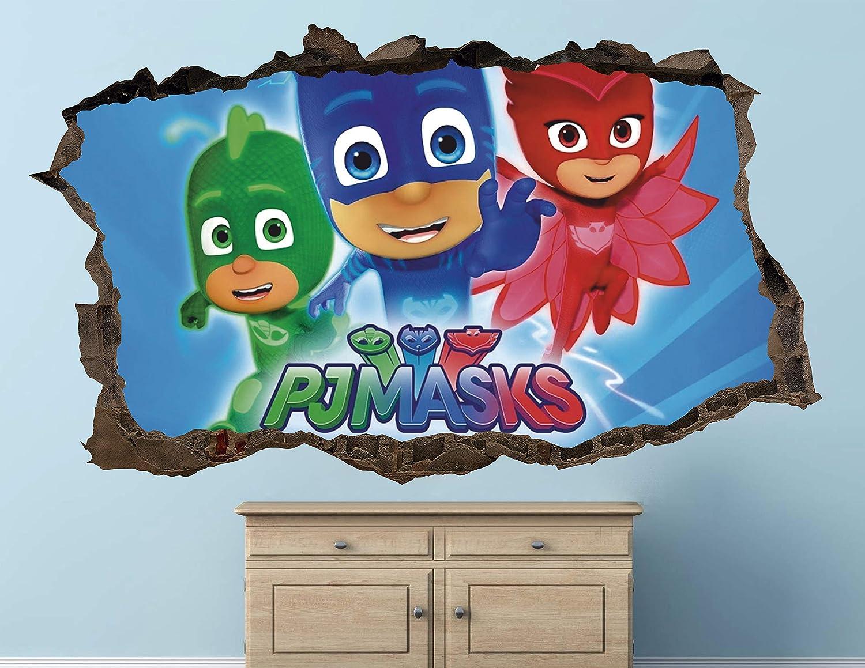 """Pj Masks Adventure Wall Decal Sticker - Kids Wall Decal Decor - Art 3D Vinyl Wall Decal - AH442 (Small (Wide 22"""" x 12"""" Height))"""
