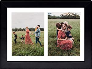 Golden State Art, 8.5x11 Black Wooden Picture Frame - White Mat for 2-5x7 Photos - Real Glass - Easel Stand for Landscape/Portrait Table Display - Home Decor - Gift for Families, Students, Friends