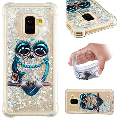 096f03cd289059 Galaxy A8 2018 Case, Eyilin Shockproof Transparent Glitter Bling Sparkle 3D  Creative Dynamic Liquid Quicksand
