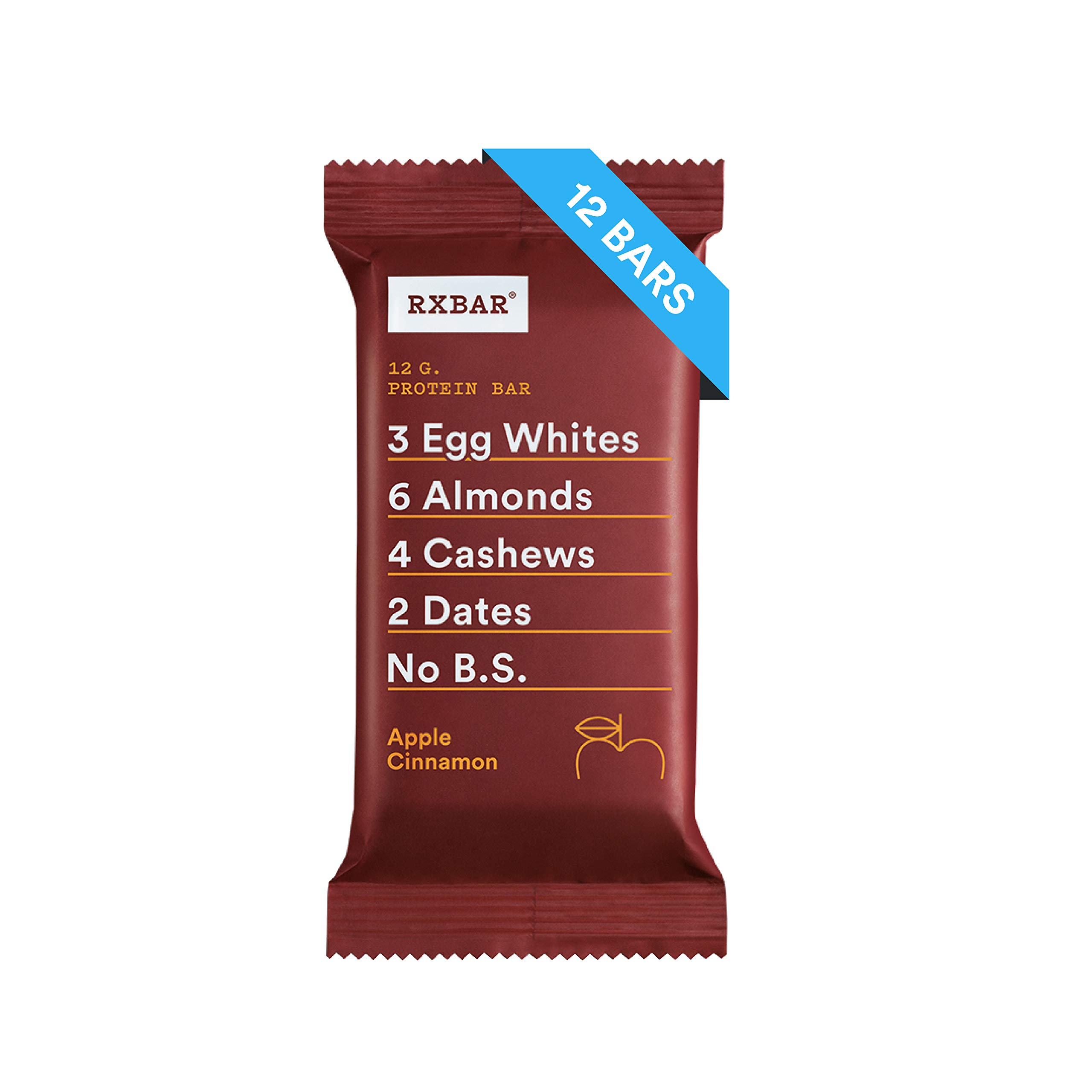 RXBAR, Apple Cinnamon, Protein Bar, 1.83 Ounce (Pack of 12) Breakfast Bar, High Protein Snack by RXBAR