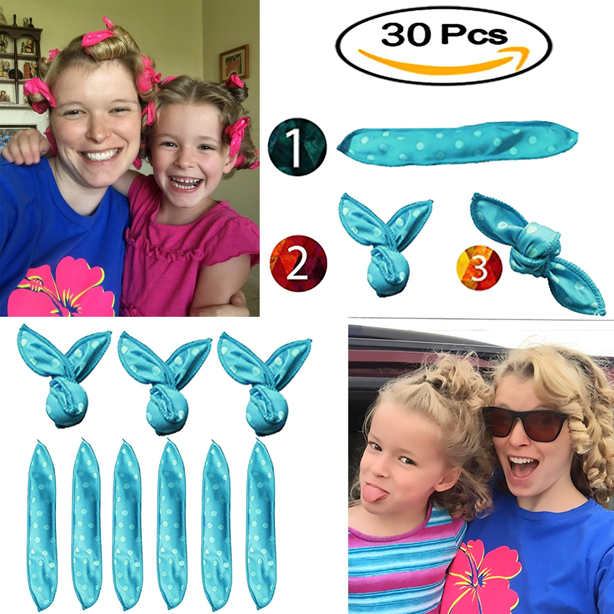 Hair Curlers, Sleep Curlers SXG 30 PCS No Heat Foam Rollers for Long Short Hair, Pillow Hair Rollers Curlers for Women&Girls- Blue