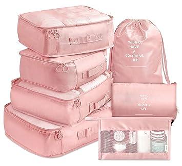 Amazon.com: Juego de 7 organizadores de equipaje de viaje ...