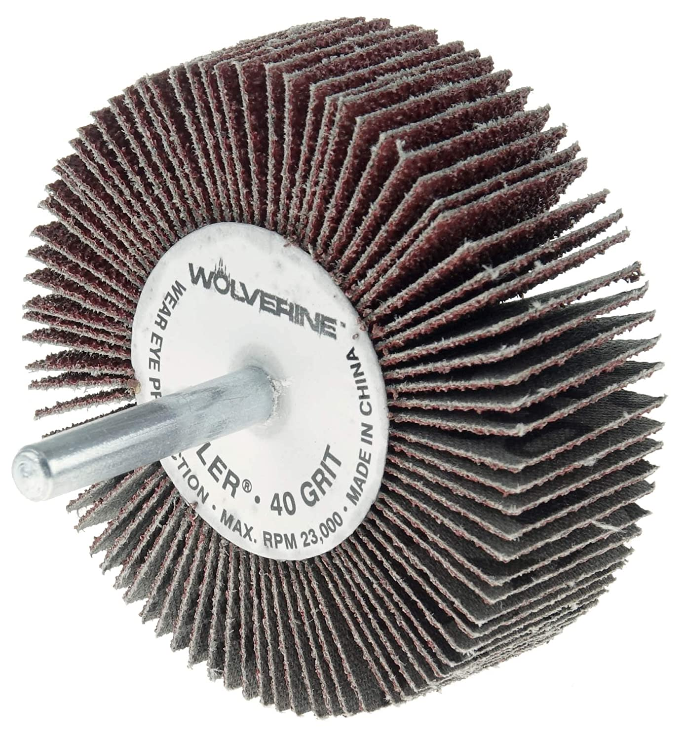 Weiler 30722 1 x 1 x 120AO Wolverine Coated Abrasive Flap Wheel 1//4 Stem Pack of 10