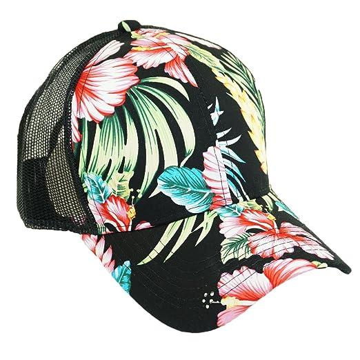 08a567f892dd62 Floral Hawaiian Printed Mesh Trucker Hat Adjustable Summer Cool Baseball Cap  (Black)