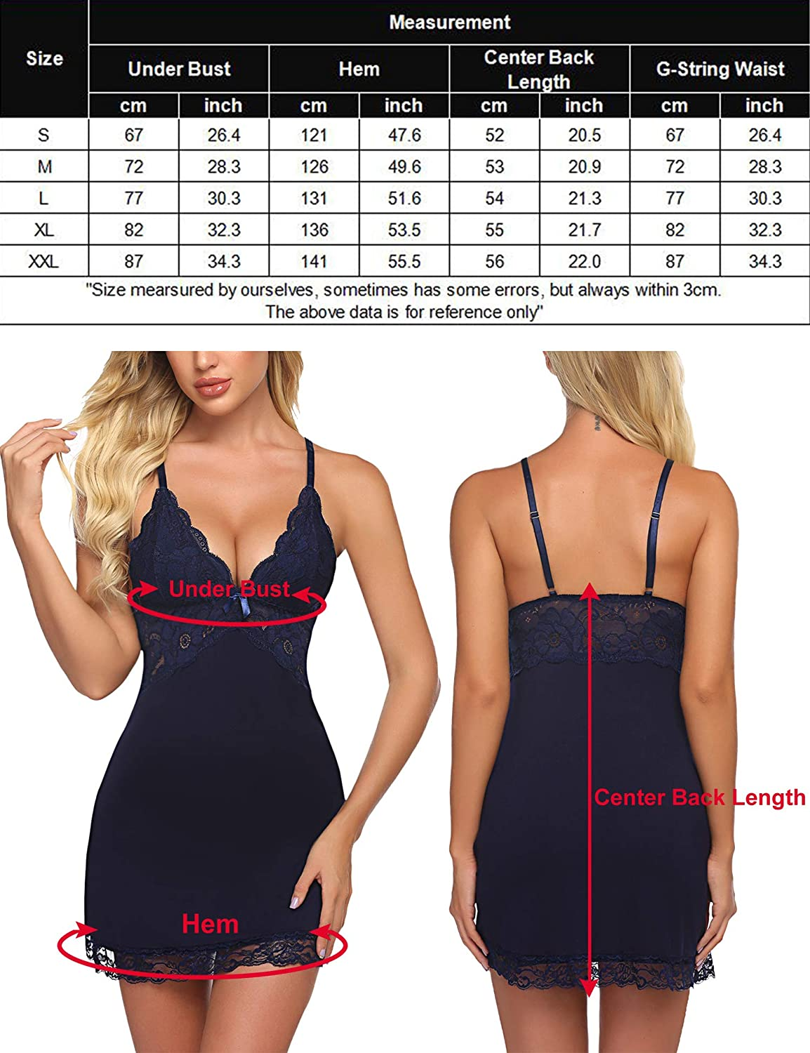 Avidlove Women Chemise Lingerie Full Slip Lace Babydoll Sleepwear Nightgown Dress