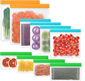 10 Pack BPA FREE Reusable Storage Bags 2 Reusable Gallon Bags+4 Leakproof Reusable Sandwich Bags+4 Thick Reusable Snack Bags Freezer Bags Leakproof Lunch Bags for Food Meat Fruit Cereal (Multicolored)