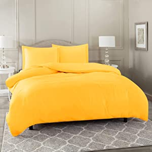 "Nestl Bedding Duvet Cover 3 Piece Set – Ultra Soft Double Brushed Microfiber Hotel Collection – Comforter Cover with Button Closure and 2 Pillow Shams, Yellow - King 90""x104"""