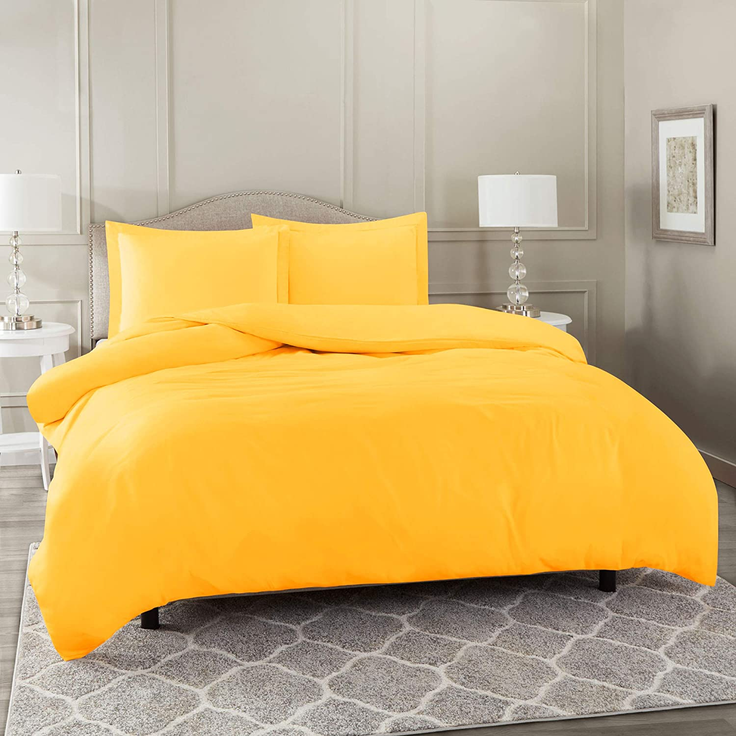 "Nestl Bedding Duvet Cover 3 Piece Set – Ultra Soft Double Brushed Microfiber Hotel Collection – Comforter Cover with Button Closure and 2 Pillow Shams, Yellow - Full (Double) 80""x90"""