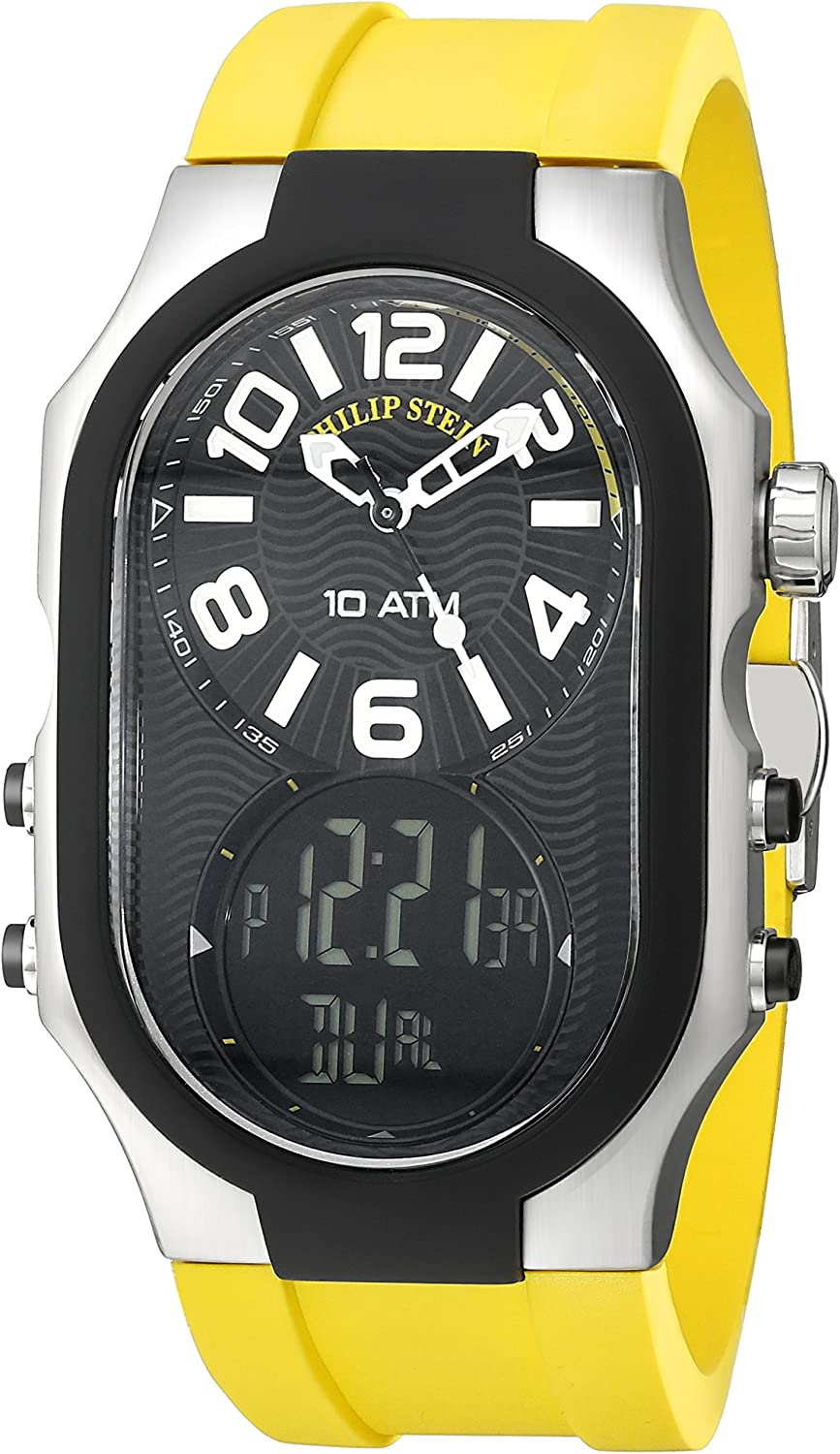 Philip Stein Men s 3RB-AD-RY Signature Black Plated Chronograph Yellow Rubber Strap Watch