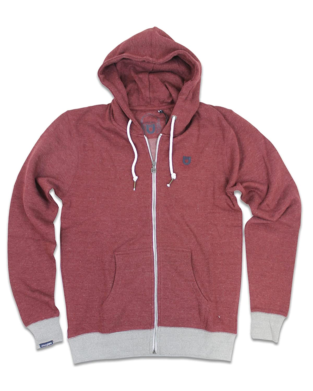 New Burgundy Unsung Hero Men/'s Islington Full Zip Hoodie Various Sizes